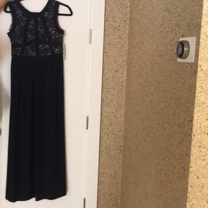 Navy blue and lace prom dress NWT